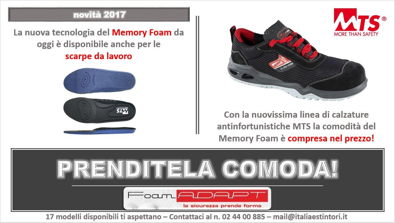 Memory Foam compreso nelle calzature da lavoro MTS